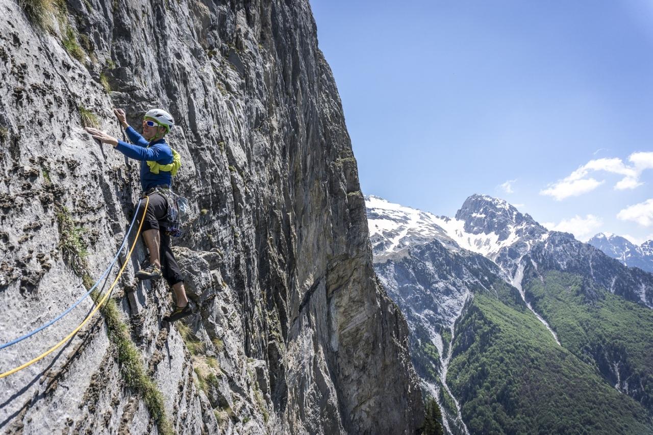 Luka Krajnc on the Raki Route (F7a+, 800m), South Face of Mount Arapit. Photo: Mikey Schaefer