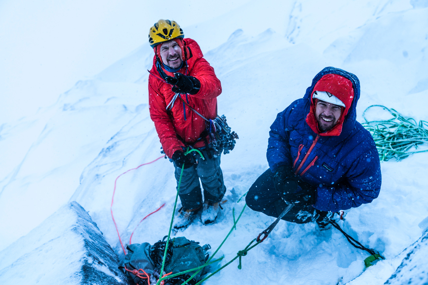 Steve House, Josh Wharton and Nick (not shown). Ben Nevis, Scotland. Photo: Mikey Schaefer