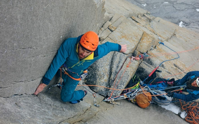 Sean Villanueva O'Driscoll works a tricky dihedral on the first ascent of El Regalo de Mwono in Torres del Paine, Patagonia. Photo: Nicolas Favresse