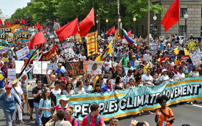 Tens of thousands protest the Trump administration's assault on the environment at the People's Climate March in Washington, D.C. Photo: Astrid Riecken