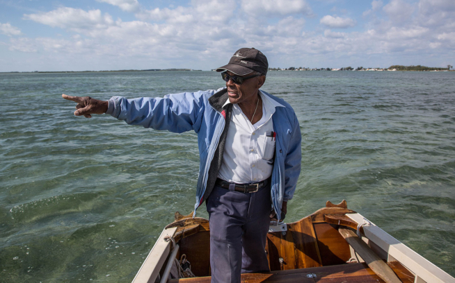 Ansil Saunders points to the mangrove island, still visible today, where the all-tackle world-record bonefish was landed. Photo: Brian Irwin