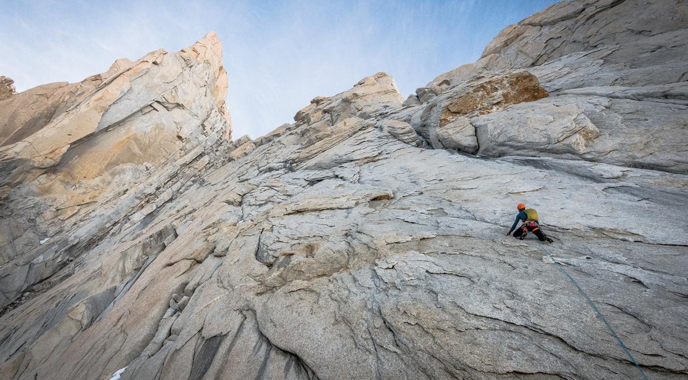 Colin Haley climbs Afanassieff Ridge on the west face of Chaltén. Photo: Austin Siadak