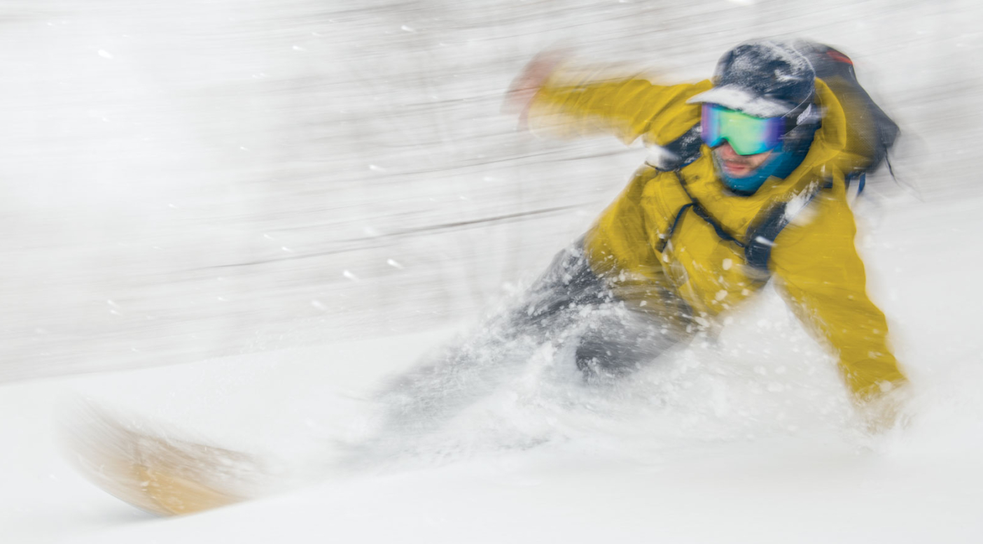 Alex Yoder surfing a snowy swell. Hokkaido, Japan. Photo: Garrett Grove