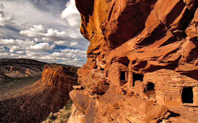 Among the sacred sites Bears Ears National Monument is intended to preserve are these Pueblo cliff dwellings and granaries (for storing maize) on Comb Ridge, Utah. Photo: Josh Ewing