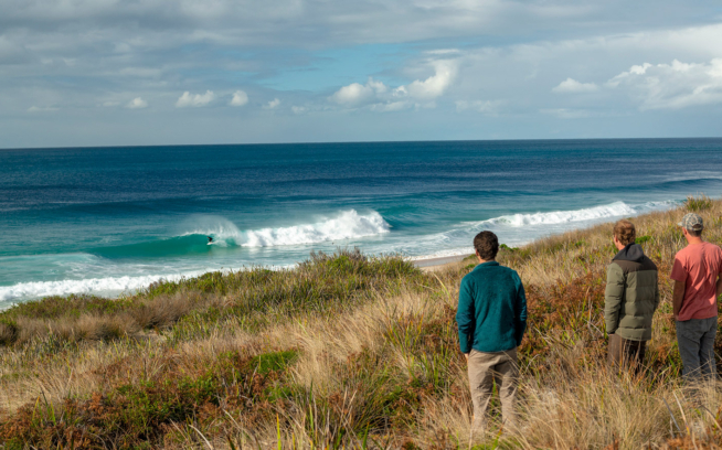Barreling rights at King Island's unspoiled Martha Lavinia Beach. The construction of a largescale fish   arm just offshore would immediately degrade this intact ecosystem—and likely impact the perfect peaks of Martha's. Photo: Ted Grambeau