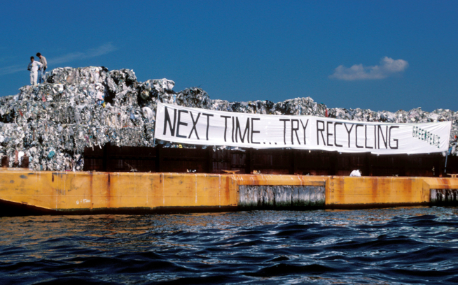 In 1987, a barge named Mobro carried 3,100 tons of Islip Town and New York City trash at sea for over two months and about 6,000 miles, looking for a dumpsite. Thirty-two years later, the large problem of where to ship it all continues. Photo: Dennis Capolongo