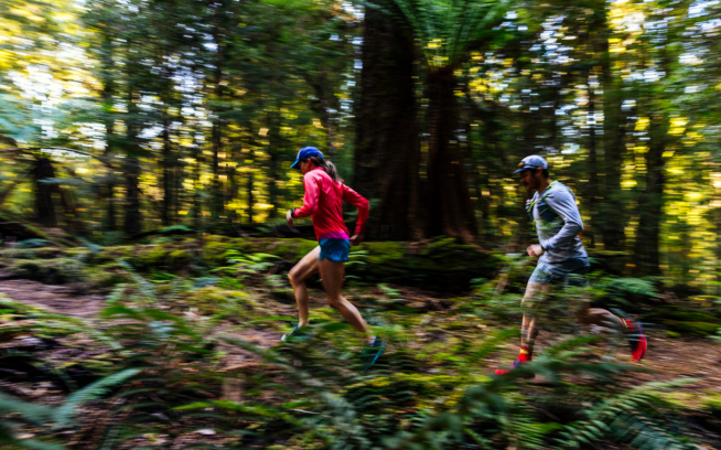 Krissy Moehl and Grant Guise run the inaugural takayna / Tarkine ultramarathon. Photo: Jarrah Lynch