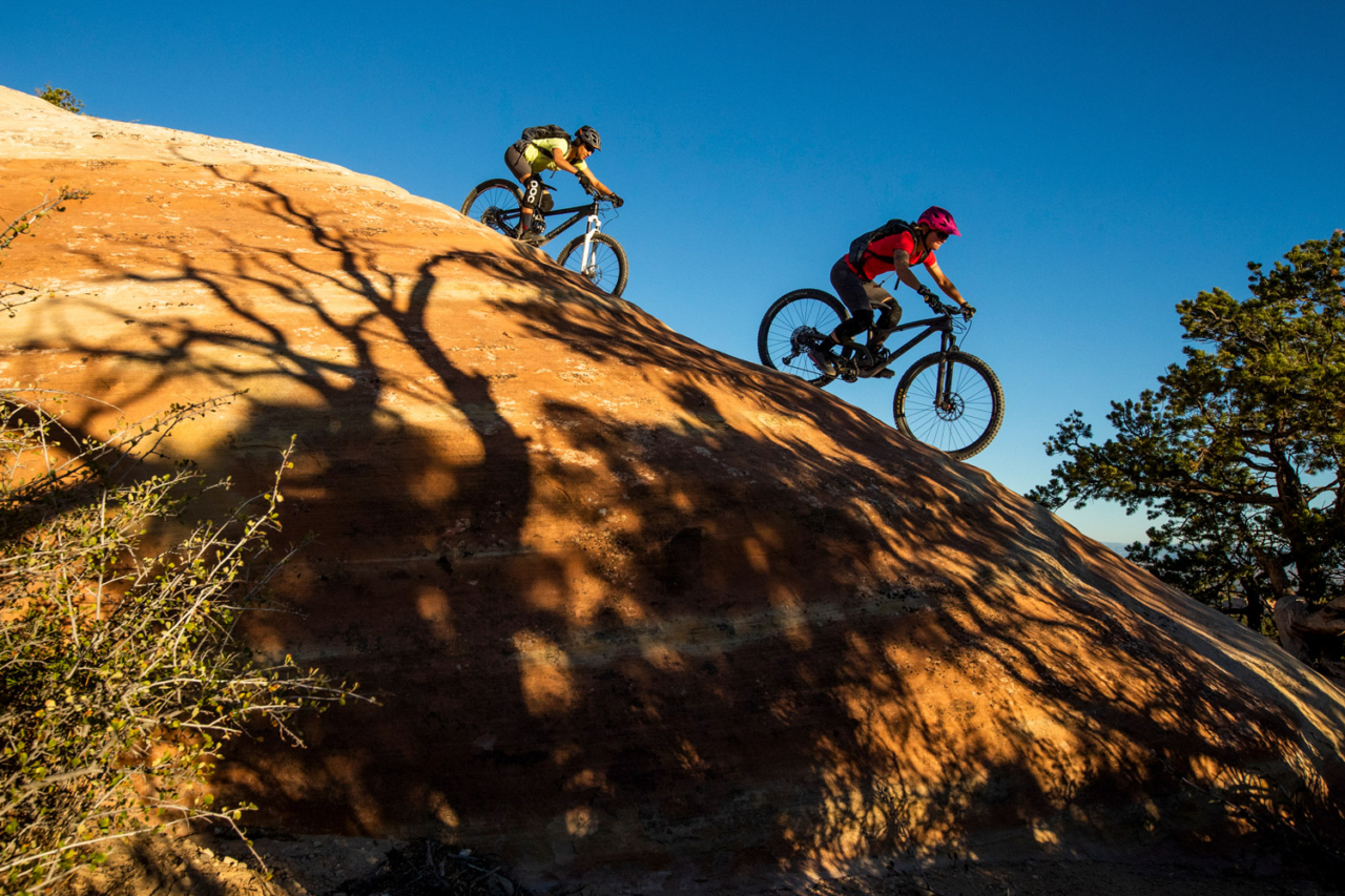 The Ribbon trail is a bit of a misnomer; though it does wind through Grand Junction's gargoyle-esque rock formations, it's the dome rolls that keep locals searching for new lines. Photo: Carl Zoch