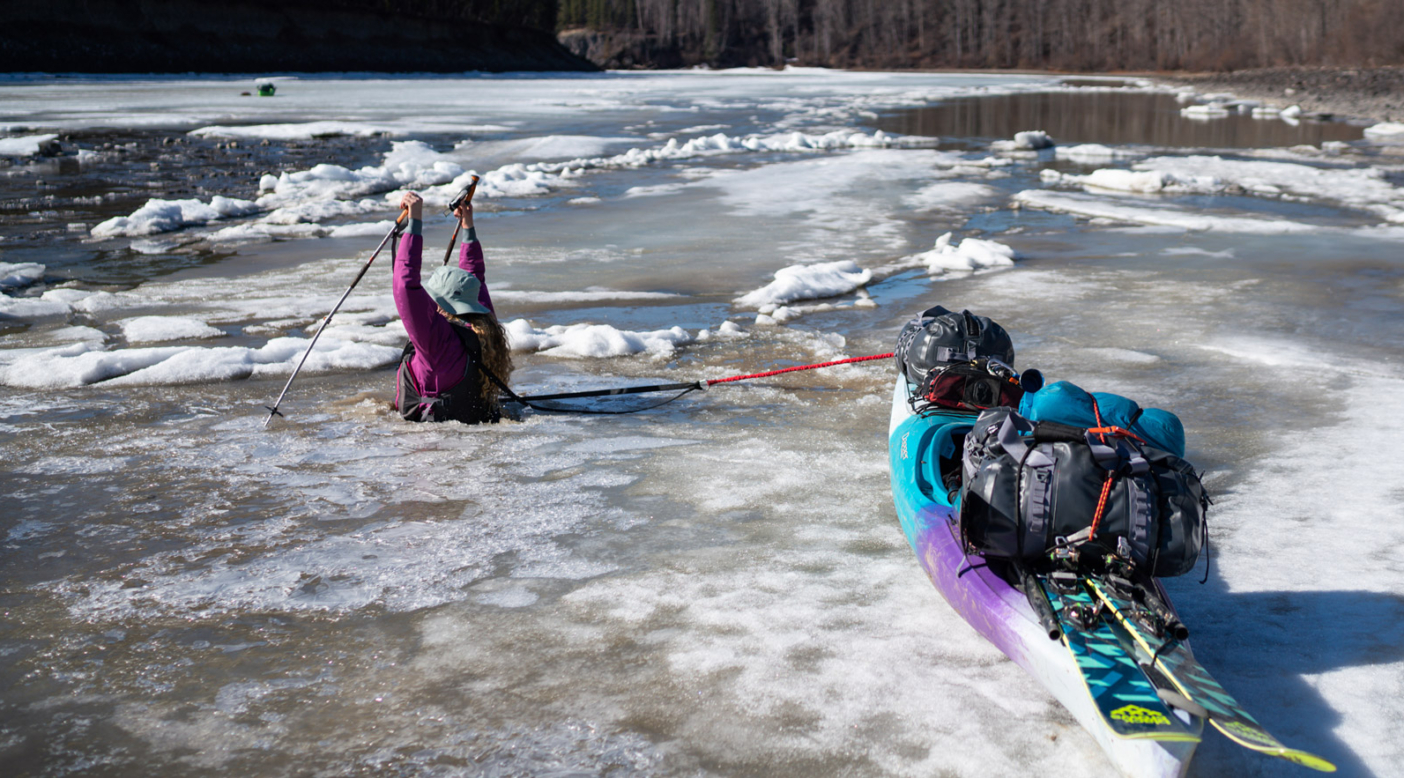Katrina Van Wijk punches through thin ice while trying to make it to the middle of the river. Photo: Jasper Gibson