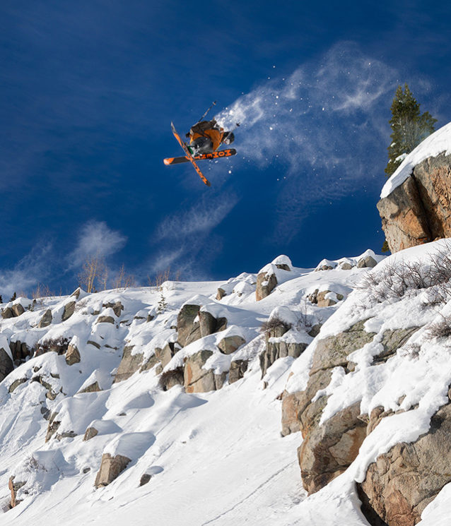 Carston Oliver, a Patagonia ski and mountain bike ambassador, styles a 360 in the Utah backcountry. Photo: Mary McIntyre