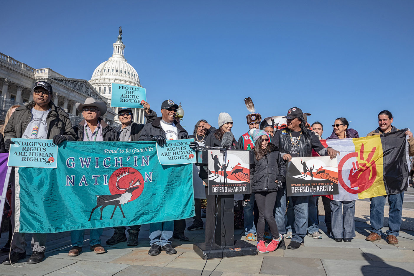 Members of the Gwich'in Steering Committee at a press conference in front of the United States Capitol in Washington, DC. The Gwich'in know the fight to protect the Refuge isn't just about protecting their own backyard, but about protecting sacred spaces everywhere. Photo: Keri Oberly