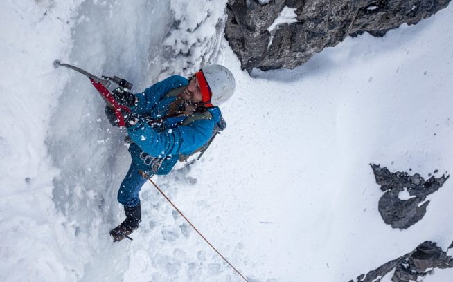 Andy Knight picks his spot on pitch 4 of Provo Canyon's Stairway to Heaven; this was the last pitch of the FA in 1975. Nowadays, the route can go on for several more pitches if the ice is right.